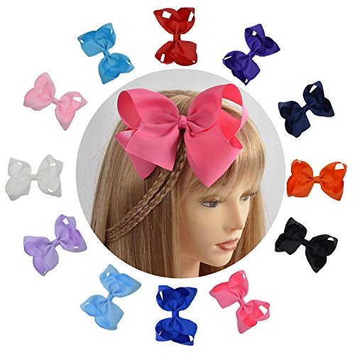 LCLHB Trendy Big Hair Bows With Oversized Ribbon Alligator Clip For Women Babies Little Girls (6 - Bow Oversized Red