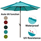 Abba Patio Outdoor Patio Umbrella Table Umbrella with Auto Tilt and Crank, 9-Feet, Turquoise