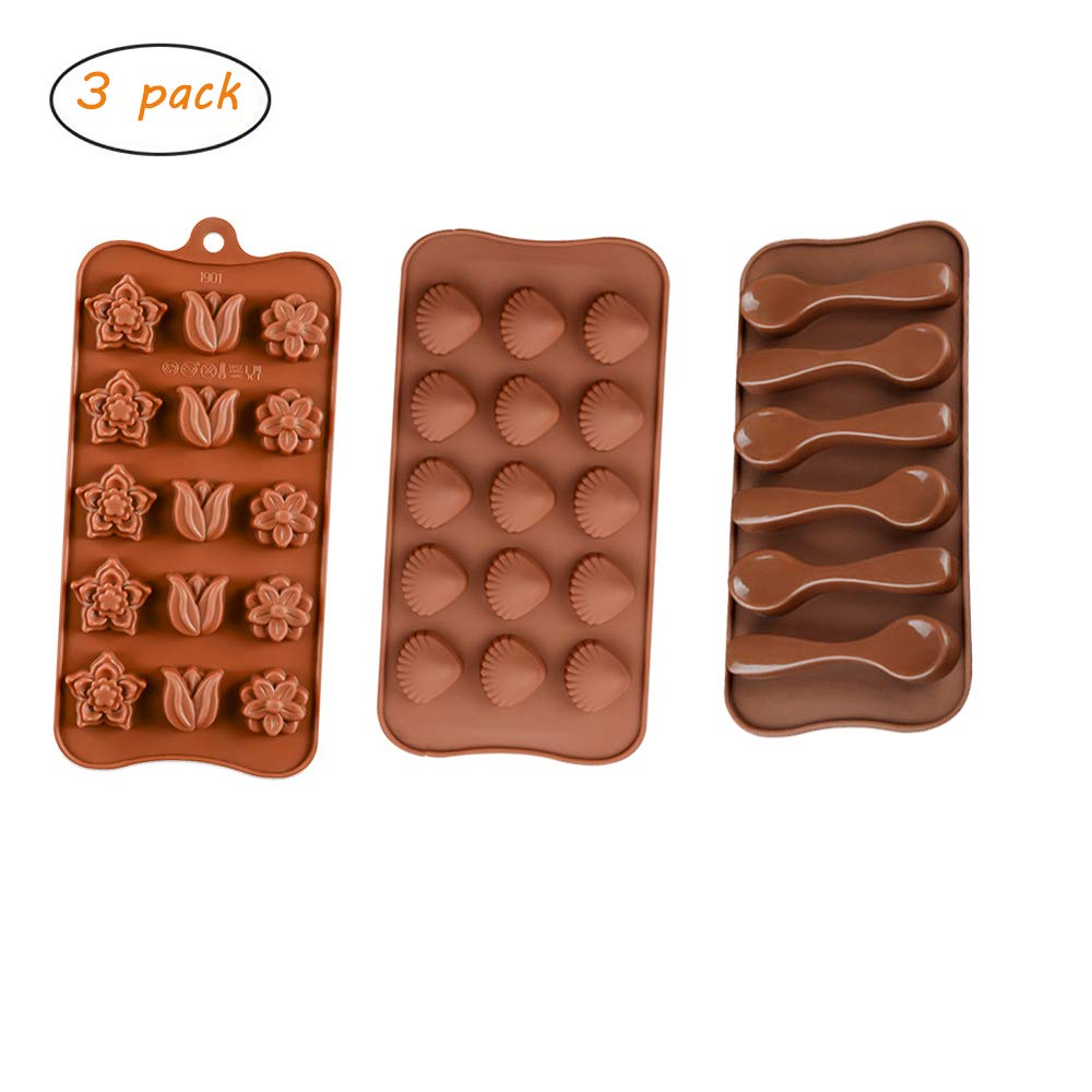 ARTEM 3Pcs Chocolate Silicone Molds Cake Decorating Candy Jelly Molds with Flower Shell Spoon Shape for DIY Handmade