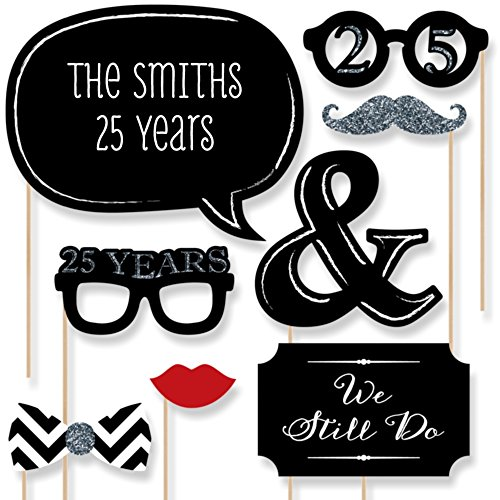 Custom 25th Anniversary Photo Booth Props Kit - Personalized Silver Wedding Anniversary Party Supplies - 20 Selfie Props]()