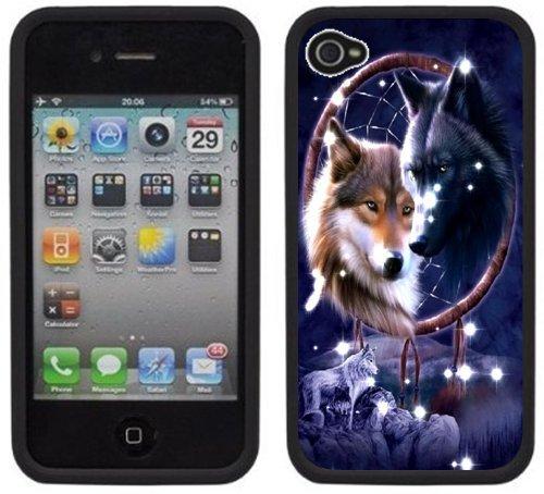 Loups amérindiennes   Fait à la main   iPhone 4 4s   Etui Housse noir