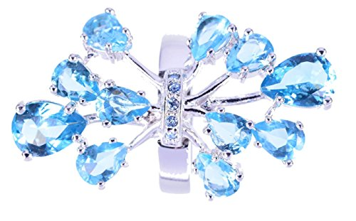 Aqua Colored Stone (Calu: Large: Rhodium plated brass ring with synthetic aquamarine colored stones and crystals)
