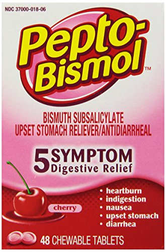 (Pepto-Bismol 5 Symptom Digestive Relief Medicine, Upset Stomach & Diarrhea Relief, 48 Chewable Tablets)