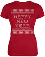 Happy New Year Ugly Christmas Sweater Red Juniors T-Shirt