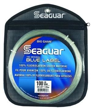Seaguar  Blue Label Big Game Fluorocarbon Fishing Leader, Clear, 30m