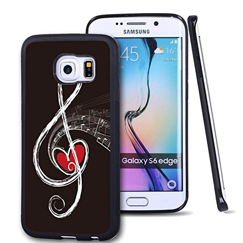 S6 Edge Plus Case Samsung Galaxy S6 Edge Plus Black Cover TPU Rubber Gel - Red Heart and Music Note
