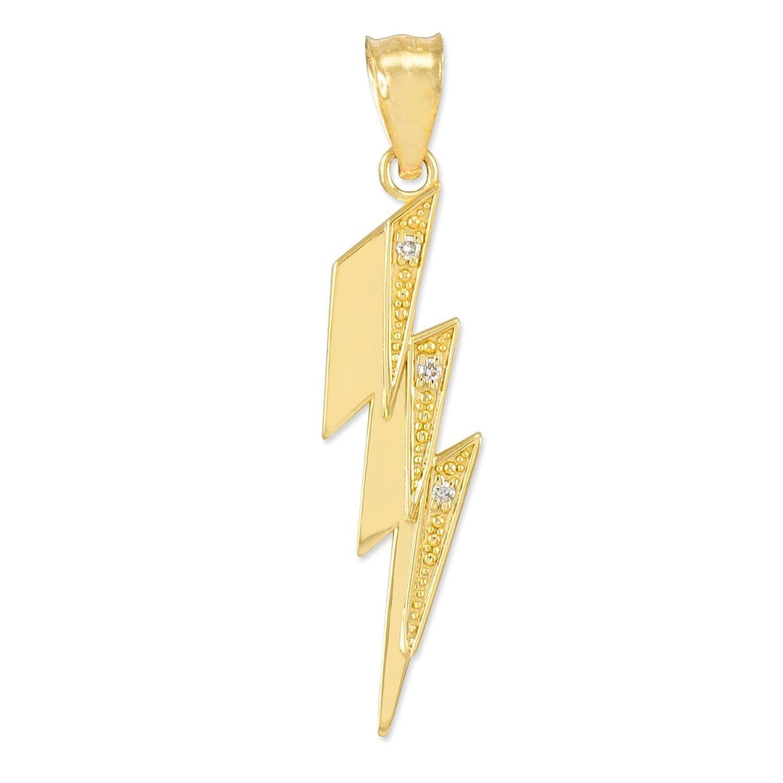 High Polish 14k Yellow Gold Diamond Lightning Bolt Charm Pendant