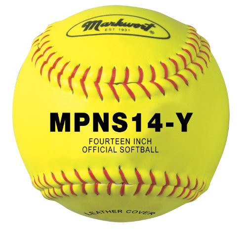 Markwort 14-Inch Synthetic Cover Softball (Yellow with Red Stitch)