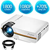 ELEPHAS LED Movie Projector, with 2018 Updated LCD Technology Support 1080P 150 Portable Mini Projector Ideal for Home Theater Cinema Video Entertainment Games Party, White