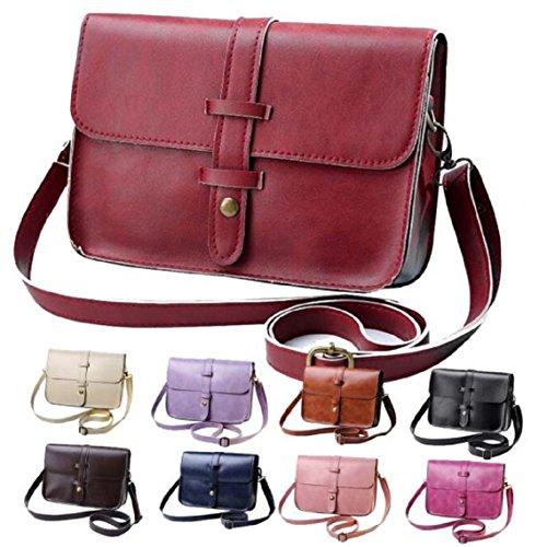 BZLine® Frauen Leder Handtasche Tote Taschen Kreuzkörper Schulter Umhängetasche (Kaffee) Lila