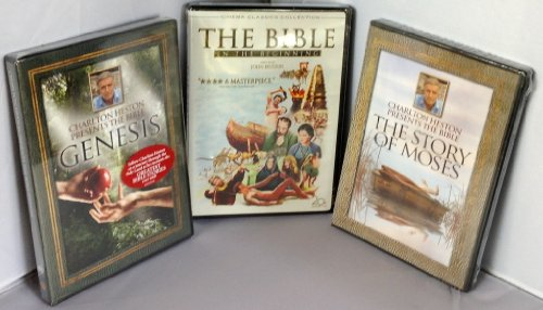 The Bible: In the Beginning; Charlton Heston Presents The Bible, Genesis & The Bible The Story Of Moses 3 DVD Set!!