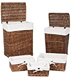 BirdRock Home Woven Willow Baskets with Liner | Set of 5 | Rectangular Hampers and Storage Bins with Lids | Decorative Wooden Wicker Baskets | Organizer | Natural (Brown)
