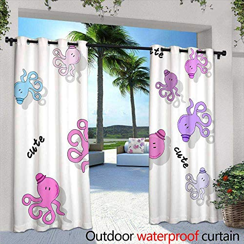 Lightly Patio Curtains,Beautiful Greeting Card or Illustration of Tree Computer Graphics,W72 x L84 Outdoor Curtain Waterproof Rustproof Grommet Drape