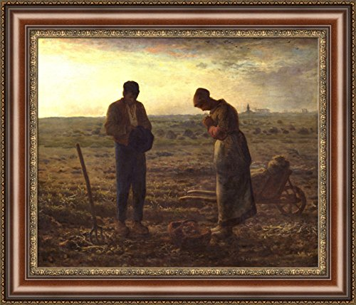 Jean-Francois Millet The Angelus Framed Canvas Giclee Print - Finished Size (W) 27.4'' x (H) 23.4'' [Brown/Gold] (S08-30F-MD393-03) - Enhanced Image