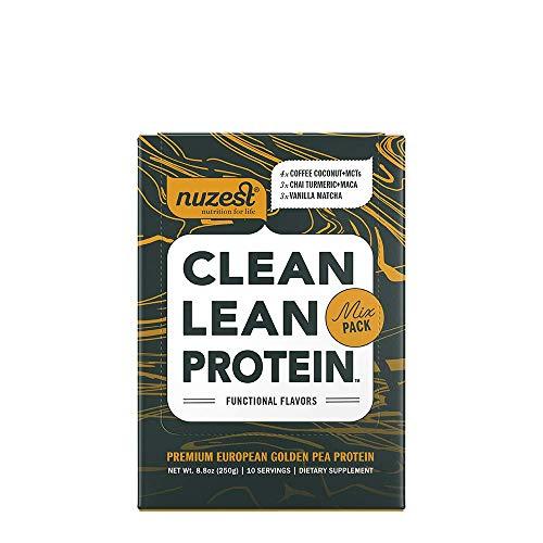 Nuzest Clean Lean Protein Functionals - Premium Vegan Protein Powder, European Golden Pea Protein, Dairy Free, Gluten Free, GMO Free, Naturally Sweetened, Mixed Pack, 10 Count