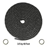small trees for landscaping Twisted polyethylene Rope Hanging Kit (3/5 in x 40 ft) -Strap with 2 Iron Rings, Thick Heavy Duty Rustic Outdoor Cordage for Craft, Dock, Decorative Landscaping, Climbing, Tree Hanging Swing(Black)