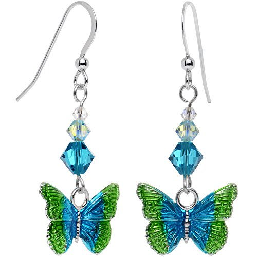 Body Candy Ressort fabriqué à la main en argent sterling 925boucles d'oreilles papillon créé avec cristaux Swarovski fini or 18carats