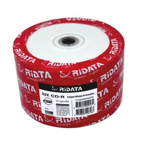 RiDATA 700MB 52X CD-R Inkjet White Hub Printable 50 Packs Disc Model R80JS52-RD-IWN50 by Ridata