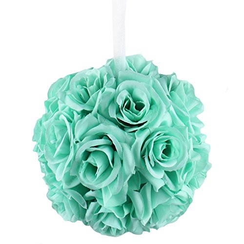 7 Inches White Flower Ball: AerWo Mint Green Rose Flower Ball Artificial Pomander