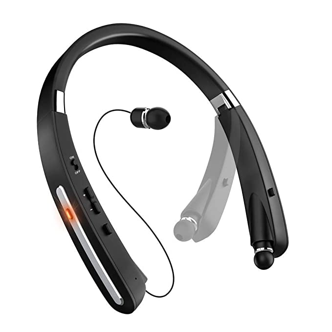 aeacb7dd89b Bluetooth Headset, Bluetooth Headphones KKY-992X-LBell Wireless Neckband  Design with Foldable Retractable
