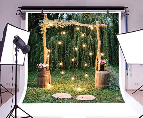 Baocicco 10x10ft Rustic Style Engagement Ceremony Backdrop Stunning Wedding Arch Decorations Twinkle Lights Floral Bouquets Background Wedding Date Valentine's Day Lover Couples Portrait Studio Props (Wedding Alter Arch)