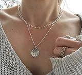 BOUTIQUELOVIN Women Chain Choker Necklace, Silver