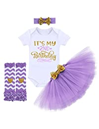 IMEKIS Baby Girls 1st 2nd Birthday Outfit Romper Tutu Skirt Bowknot Headband Set