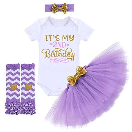 It's My 1/2 / 1st / 2nd Birthday Outfit Baby Girls Romper + Ruffle Tulle Skirt + Sequins Bow Headband + Leg Warmers Socks Party Dress up Costume 4Pcs Photo Cake Smash Clothe Set Purple 2 Years]()