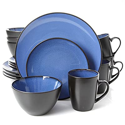 "Gibson Home 16 Piece Reactive Stoneware Soho Round Dinnerware Set, Blue - - BEAUTIFUL DESIGN: artisanal round stoneware featuring two-tone blue interior and black exterior double reactive glaze dinnerware. WHATS IN THE BOX: Service for 4 that includes 4 of each of the following: 12.75"" Dinner Plates, 9"" Dessert Plates, 6.25"" Bowls and 12 Ounce Mugs. DOUBLE REACTIVE GLAZE: reactive refers to a technique how multiple colors within the glaze react together to create a dreamlike, vibrant quality to the colors and hues. Due to the reactive nature of the glaze, each stoneware piece is unique. - kitchen-tabletop, kitchen-dining-room, dinnerware-sets - 51TJkbMO1QL. SS400  -"