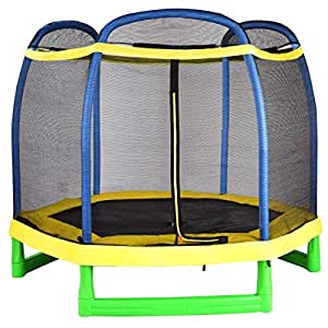 Giantex 7' Trampoline with Enclosure Safety Net Pad, Built-in Zipper Heavy-Duty Metal Frame, Indoor/Outdoor Birthday for Kids, for Boy and Girl