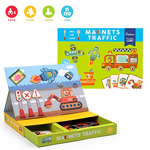 Early Learning & Educational Toys Gift Set for 3+ Years Old, Brain Training Magnetic Traffic Vehicle Parts with Storage Tray(58 Pcs)