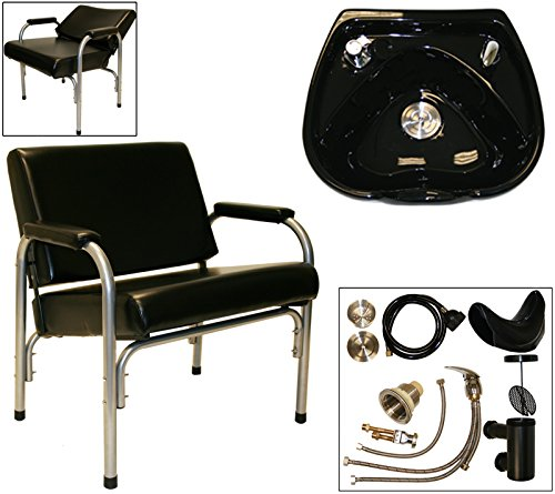 LCL Beauty Heavy Duty Shampoo Package: Autorecline Shampoo Chair and Black CERAMIC Shampoo Bowl