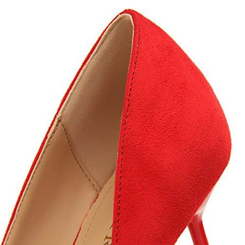 AalarDom à Chaussures Couleur Rouge Légeres Femme Talon Haut Unie Suédé rxr0S
