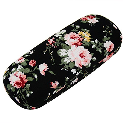 - ZZ Sanity Flower Fabric Covered Clam Shell Style Eyeglass Case Spectacles Box (Black2)