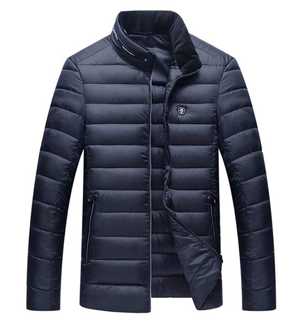 X-Future Mens Full-Zip Quilted Slim Fit Warm Thicken Stand Collar Down Parka Coat