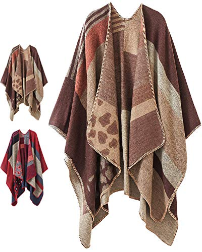Women Plaid Shawls and Wraps,Winter Poncho Cape,Soft Cashmere Cloak,Oversized Long Cardigan Sweaters(Khaki)