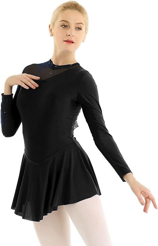 Yeahdor Big Girl Shiny Rhinestone Figure Ice Roller Skating Dress Ballet Gymnastics Skirted Leotard Performance Costume