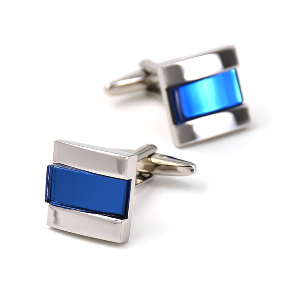 Merit Ocean Blue Navy Glass Square Cuff Links Classic Cufflinks