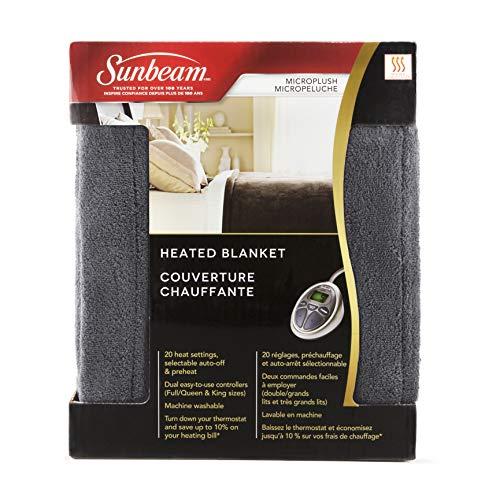 Sunbeam BSM9SFQ-RG29-17A50 Micro Plush Heated Blanket, Brushed Nickel, Full/Queen
