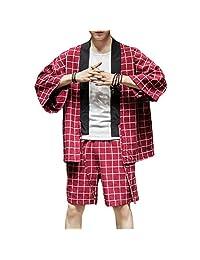 Zhhlinyuan Cardigan Jacket&Shorts Men Womens Loose Thin 2 Piece Japanese Kimono