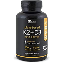 Vitamin K2 + D3 with Organic Coconut Oil for better absorption   2-in-1 Support for your Heart, Bones & Teeth   Vegan Certified, GMO & Gluten Free ~ 60 Veggie Gels