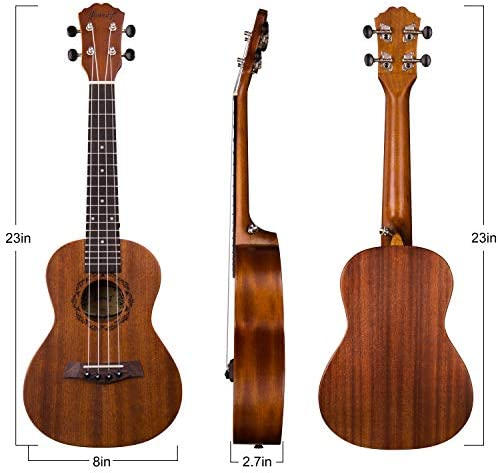 "Juarez JRZ23UK/NA 23"" Concert Size Ukulele Kit, AQUILA Strings, Sapele Body, Rosewood Fingerboard, Matte Finish, with Bag and Picks, Natural Brown"