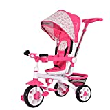Costzon 4-in-1 Kids Tricycle Steer Stroller Toy Bike w/Canopy Basket (Pink)