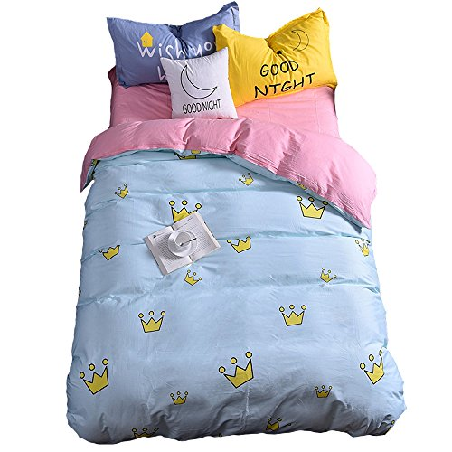 Mumgo Home Textile Bedding Set for Adult Kids Imperial Crown Pattern Blue Duvet Cover Set 100% Cotton Twin Full/Queen King Set (Full/Queen Size(4 Piece), Fitted Sheet) by Mumgo