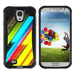 WAWU Funda Carcasa Bumper con Absorci??e Impactos y Anti-Ara??s Espalda Slim Rugged Armor -- vibrant neon lines yellow green electric -- Samsung Galaxy S4 I9500