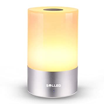 SOLLED Rechargeable Table Lamp Wtih Touch Sensor, LED RGB Bedside Lamp  Dimmable Atmosphere Lamp Color