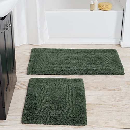 Cotton Bath Mat Set- 2 Piece 100 Percent Cotton Mats- Reversible, Soft, Absorbent and Machine Washable Bathroom Rugs By Lavish Home (Green Thick Mat)