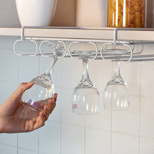 Moyad Stemware Holder Under Cabinet Wine Glass Rack Storage Organizer, White (Insert Rack Glass)