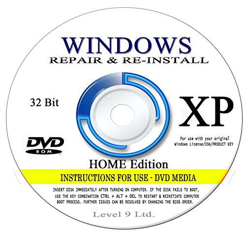 WINDOWS XP - 32 Bit DVD SP3, Supports HOME edition  Recover, Repair,  Restore or Re-install Windows to Factory Fresh!