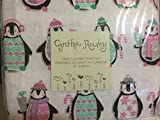 Cynthia Rowley Christmas Penguins in Pajamas with Snowflakes Candy Canes & Presents Flannel Twin Sheet Set Ballet - Pink & Puprle on White - 100% Cotton
